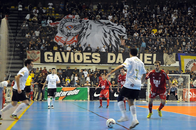 Gavioes da Fiel fan club Jammed in to watch Corinthians in FIFA Brasil Liga Futsal   in Sao Paulo