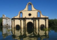 Guerreo, Tampaulipas Church partially under waters of Falcon Dam