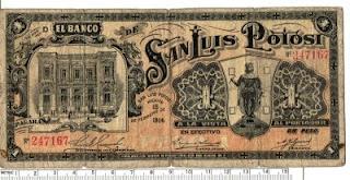 Un Peso de la Revolucion, 1914, Banco de SLP