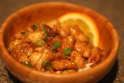 orange chicken over rice