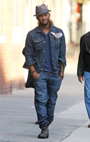 Usher was seen styling in New York City wearing a Brixton Gain Fedora hat  ( 55) in grey c31faeb5257