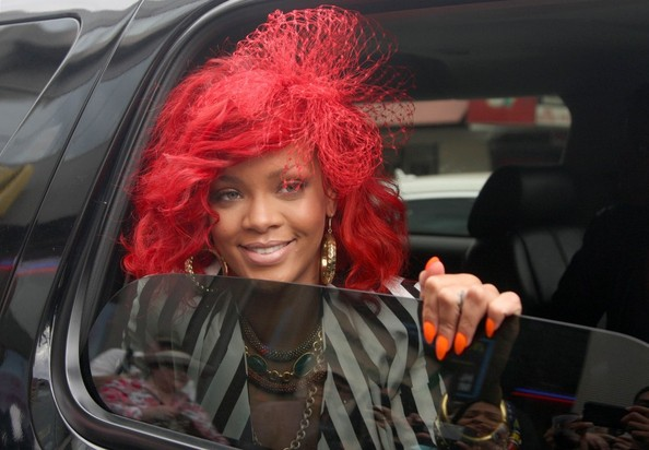 rihanna hair red curly. rihanna red hair curly.