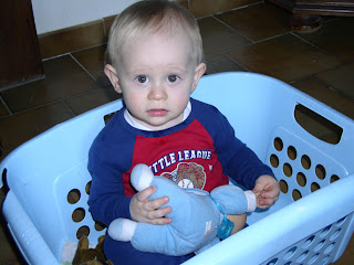 Benjamin helping with laundry