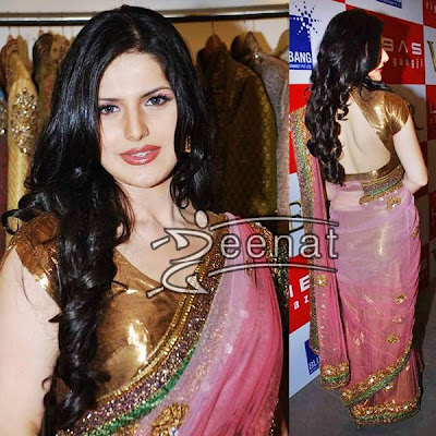 Zarine Khan Backless Saree