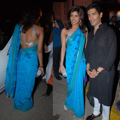 Priyanka Chopra in Blue Saree