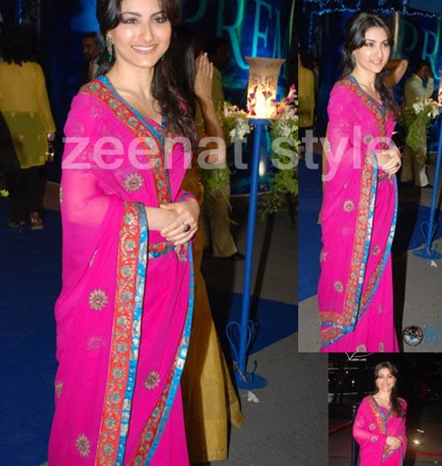 Soha Ali In Pink Saree At Saawariya Premier