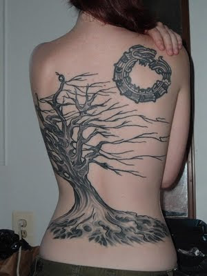 Tree Full Back Body Girl Tattoo Design New