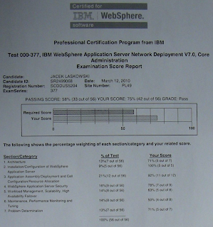 Wynik Testu 000-377 - IBM WebSphere Application Server Network Deployment V7.0 Core Administration