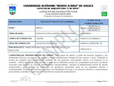 EJEMPLO DE PROGRAMA. TALLER DE PROYECTOS I