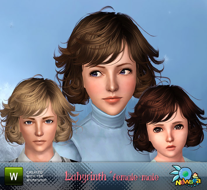 Labyrinth Female+Male Hairstyle by NewSea. Download at The Sims Resource