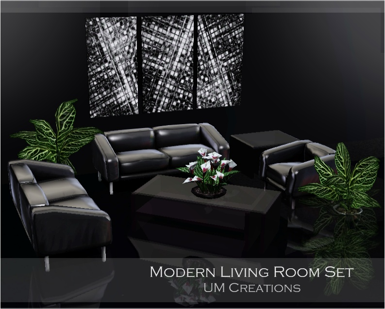 My sims 3 blog modern living room set by um creations for Living room ideas sims 3