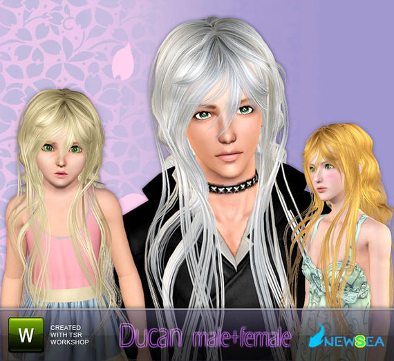 Newsea Ducan Male+female Hairstyle. Download at The Sims Resource - Free