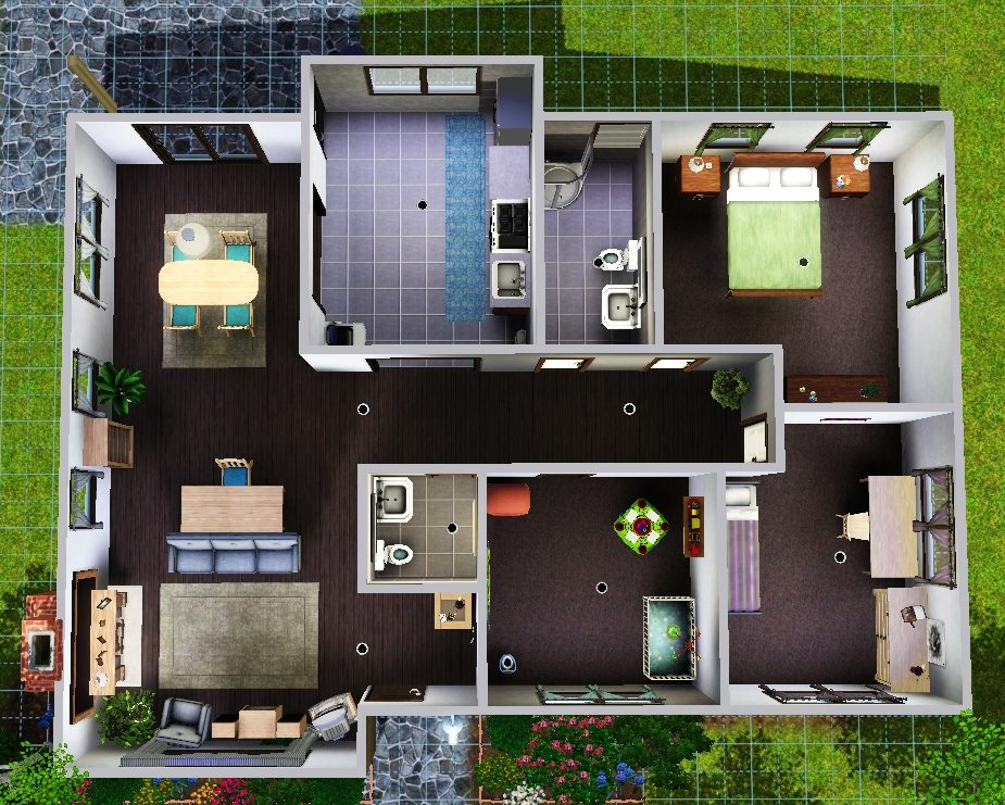 Simple sims 3 house layouts placement house plans 84894 for Sims 2 house designs floor plans