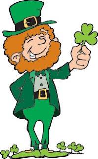 St. Patrick's Day leprechaun holding shamrock