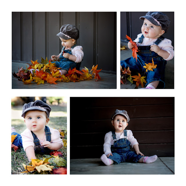 Photos of baby playing in leaves
