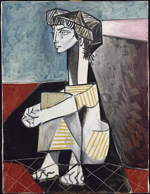 Imagen del cuadro de Pablo Picasso, Jacqueline con las manos cruzadas, utilizada para la explicación la composición por parte de Juan Sanchez Sotelo para la academia de dibujo y pintura Artistas6 de Madrid. Clases y cursos para aprender a pintar.