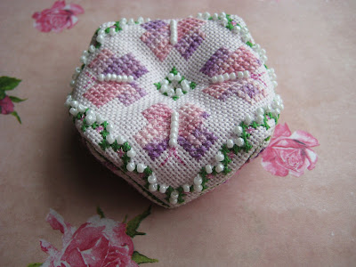 Free Cross Stitch Patterns by AlitaDesigns: Dusty Rose Biscornu