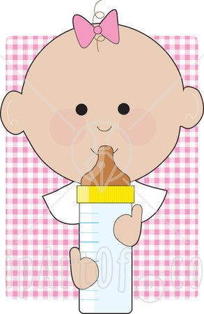Baby Girl With A Pink Bow On The Top Of Her Head Holding A Baby Bottle Clip art Illustration Image