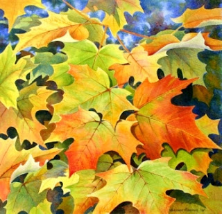watercolor beach painting - autumn fall colors