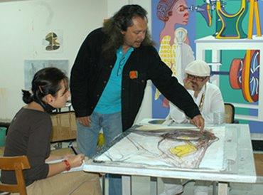 José Bedia en el taller de Vigo