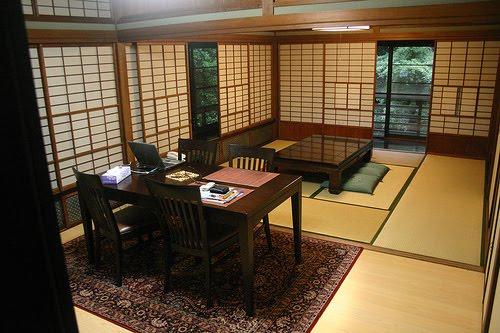 Ein Modernes Japanischen Wohnzimmer Ausgelegt Mit Tatami Matten