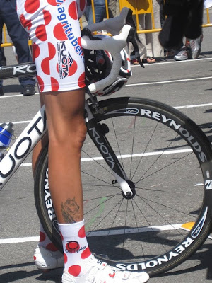 The tattoo of Overcome on sprinter Park Seon Ho (Seoul Cycling Team).