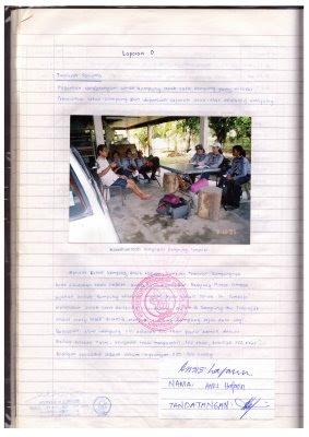 Contoh laporan bergambar di dalam Buku Log