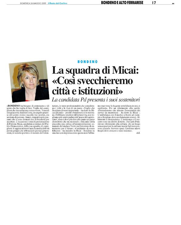 Patrizia micai sindaco di bondeno for Rassegna stampa camera deputati