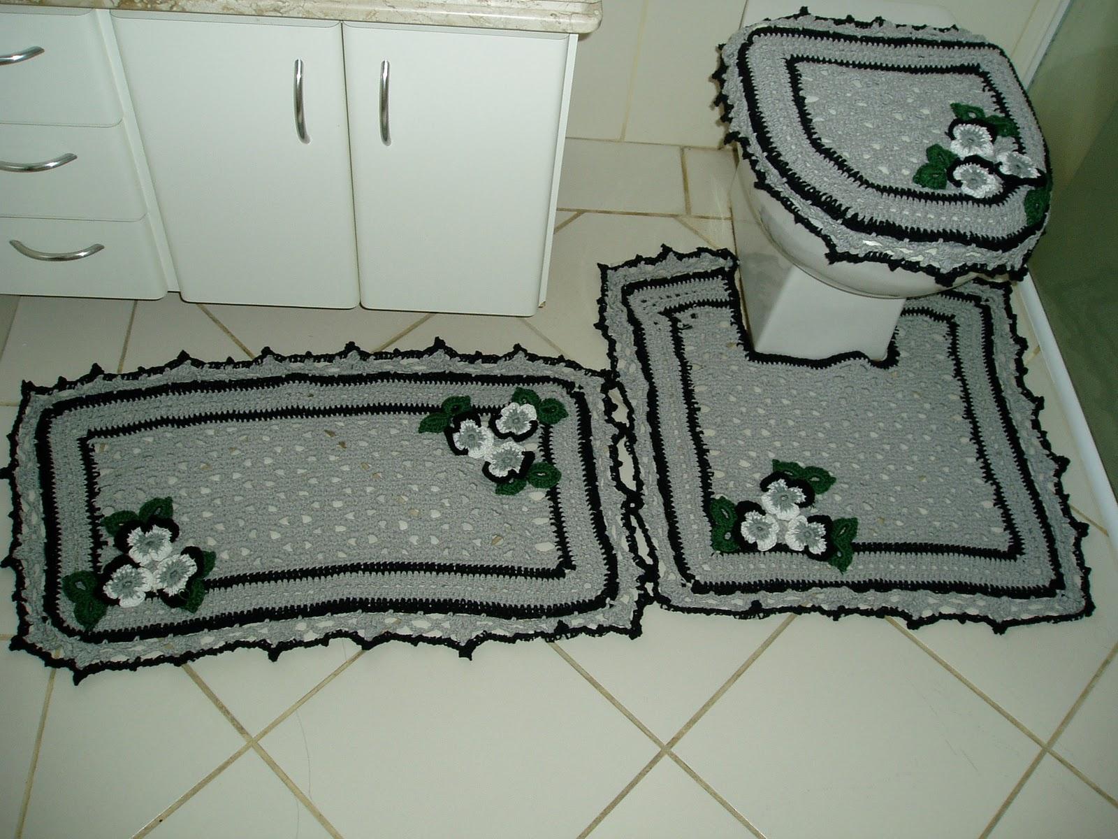 Receitas: Jogo de banheiro em croche amor perfeito em cinza e  #61664D 1600x1200 Banheiro Branco Preto E Cinza