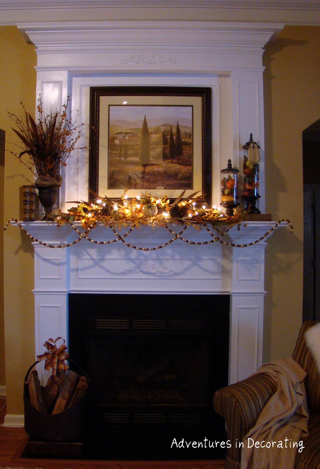 adventures in decorating le fall mantel. Black Bedroom Furniture Sets. Home Design Ideas