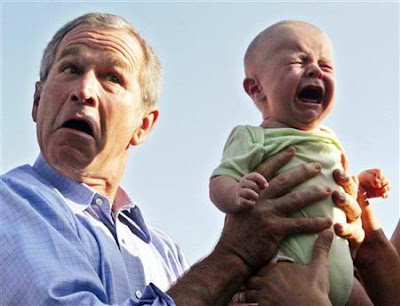 George Bush and a crying baby