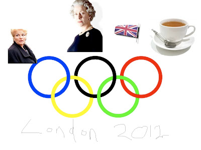 London Olympic 2012 Logo featuring Pat Butcher, The Queen, the Union  Jack and a nice cup of tea