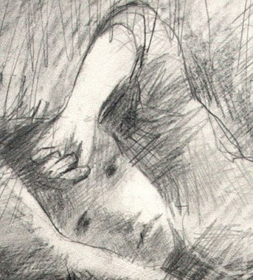 child listening a bed time story, drawing by adam cope