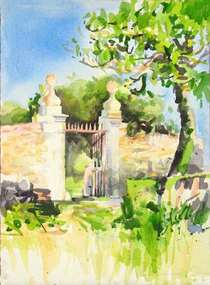watercolour of old gates in sunlight