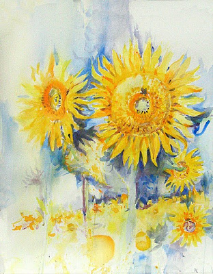 watercolour of sunsflowers on a white background