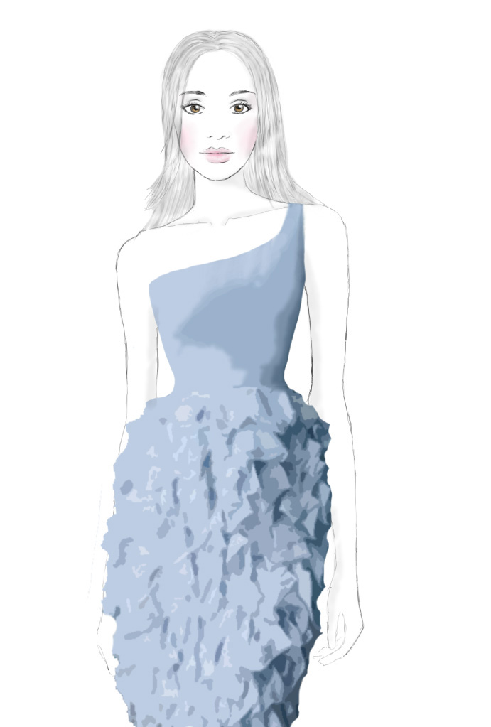 blue ruffles, dress, fashion sketch, illustration, sabrina claire, drawing