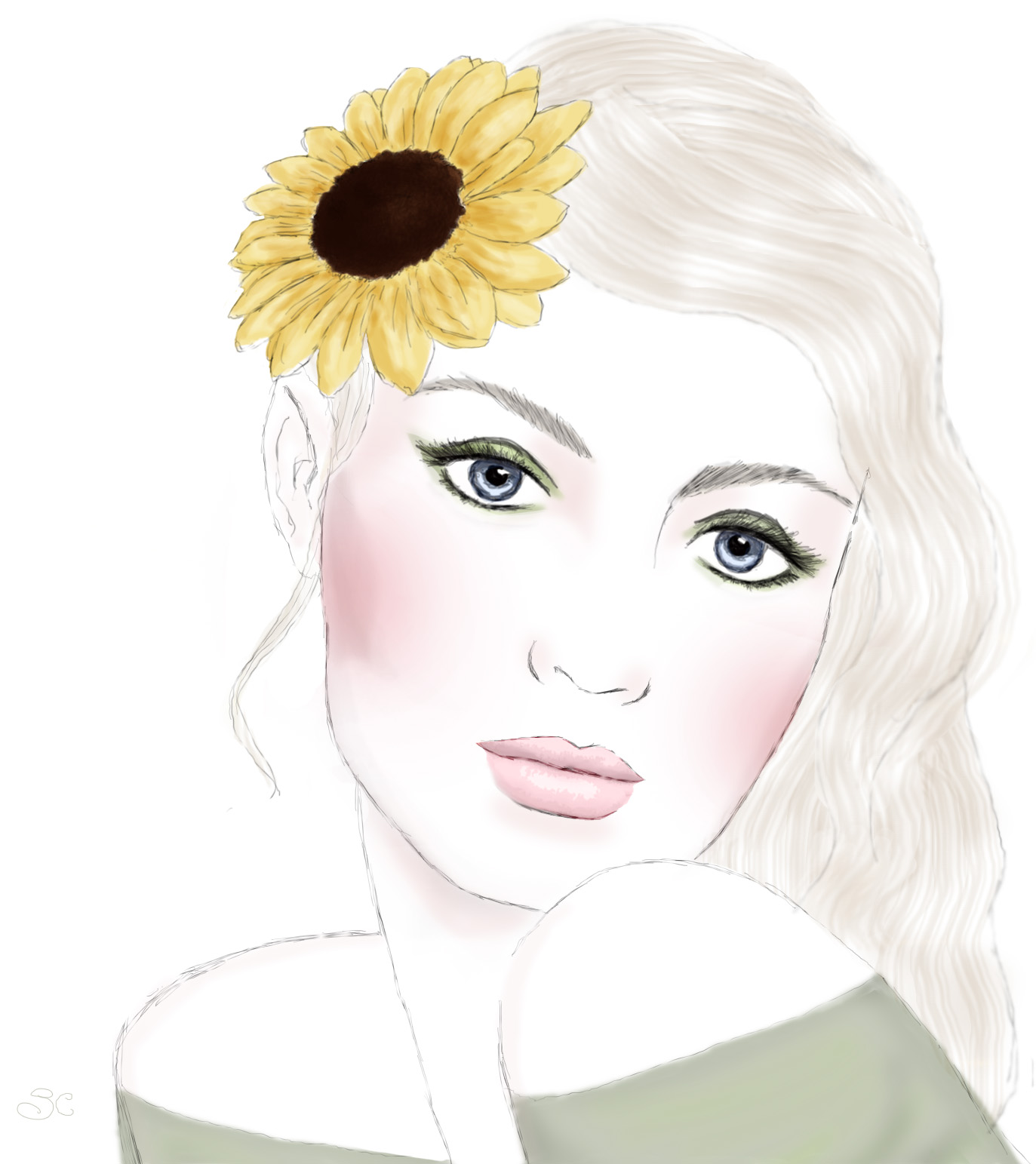 sabrina claire, fashion sketch, illustrations, art, sunflower, flowers,