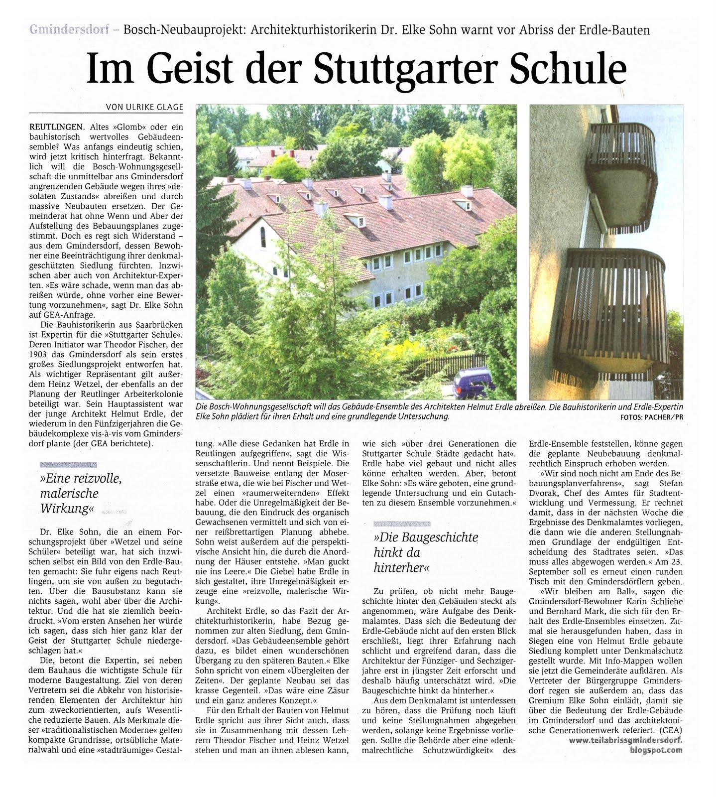Teilabriss arbeitersiedlung gmindersdorf artikel im for Reutlinger general anzeiger immobilien