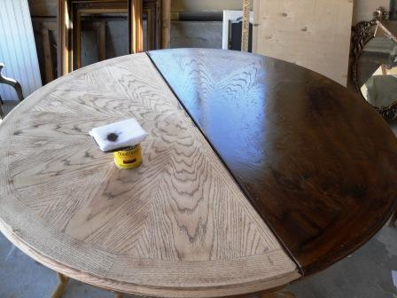 Remodelaholic  Re-stained and Painted White Oak Pedestal Table
