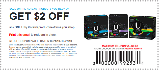 Extra 5% Off Sitewide + Free Shipping for Printable Coupons Kotex 3. Up To 30% Off Select Sale Printable Coupons Kotex 4. Printable Coupons Kotex Starting At $4 5. $5 Off $50 – Furniture. Those are the Printable Coupons Kotex that you can use in .