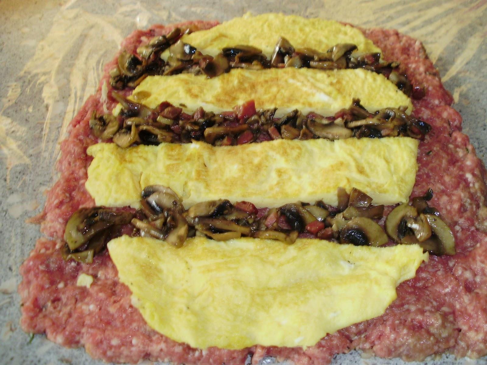 Rollo de carne picada relleno con salsa de champi ones y pate ib rico palentina - Salsa para relleno de carne ...