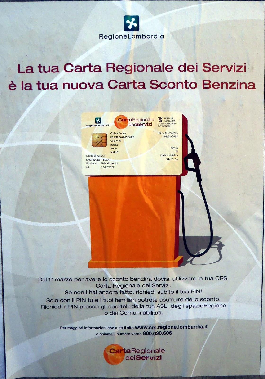Unico lab la crs come carta sconto benzina in un poster for Carta regionale dei servizi fvg