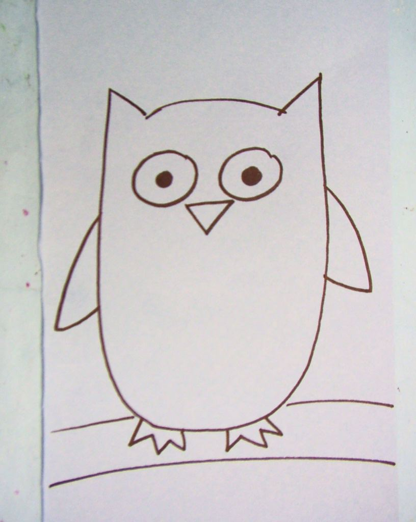 Easy owl drawings for Draw the owl