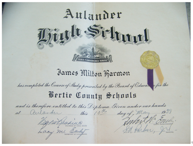 Diploma of James Milton Harmon, 1939 - Thanks to Gail Jones for the Photo of Her Dad's Diploma