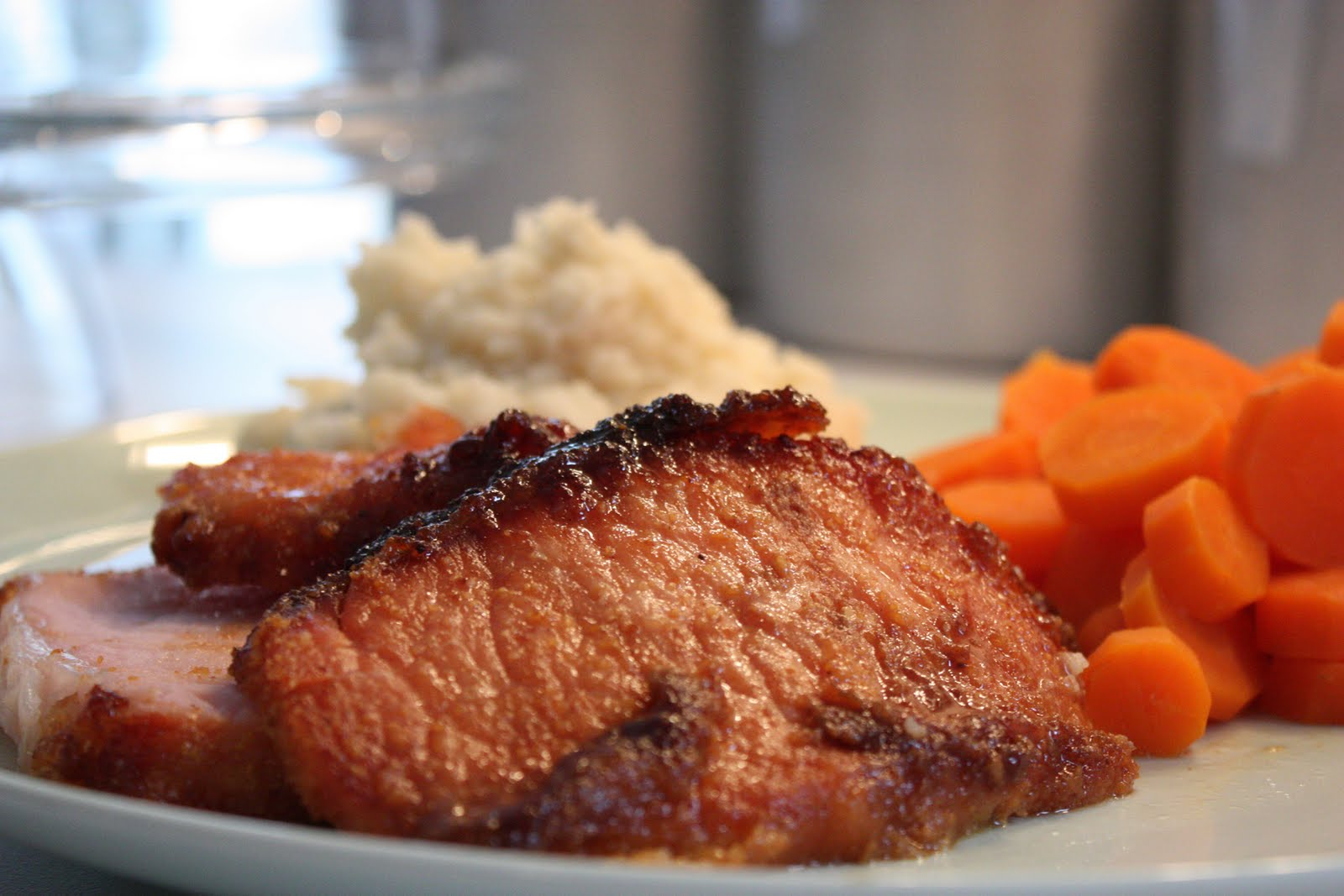 little north of crazy: Glazed Roast Peameal Bacon, Garlic Mashed ...