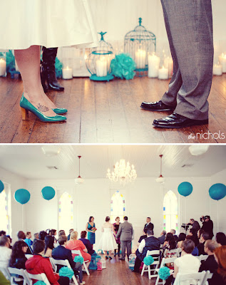 I love the colors of this wedding balloons via Green Wedding Shoes