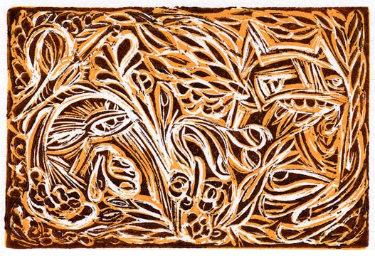 Linoleum block holiday scribble by mark murphy