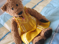 Fashionista bear: a yellow voile dress