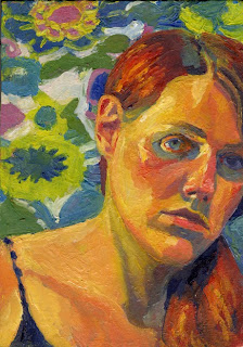 Self portrait oil painting with flowered fabric behind head and shoulders