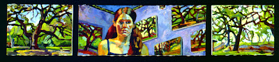 Self Portrait Triptych oil painting of figure surrounded by landscapes